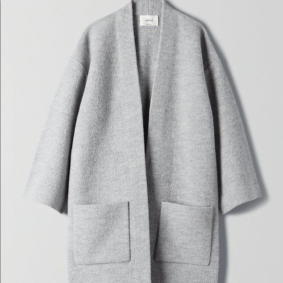 NWOT Aritzia Wilfred grey 100% wool cardigan